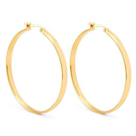 Gold Plated Sterling Silver Medium Flat Hoop Earrings