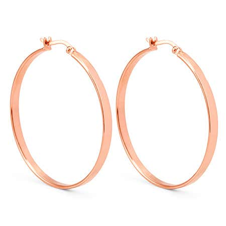 Flat Rose Gold Hoop Earrings