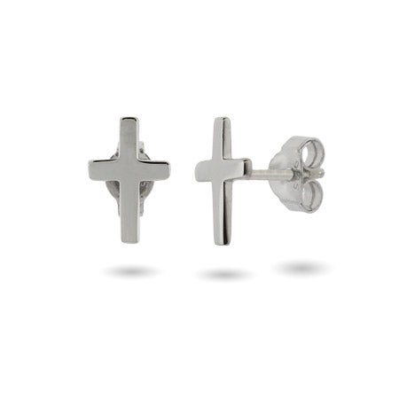Petite Sterling Silver Cross Stud Earrings | Eve's Addiction®