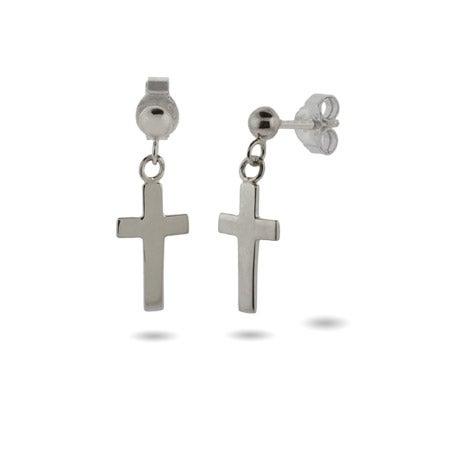 Simple Plain Silver Cross Dangle Earrings | Eve's Addiction®