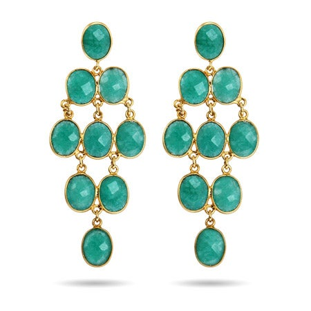 Gold Vermeil Emerald Green Quartz Chandelier Earrings | Eve's Addiction®