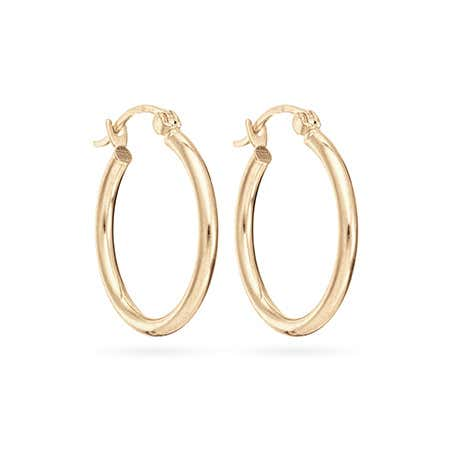 14K Gold 3/4 Inch Hoop Earrings