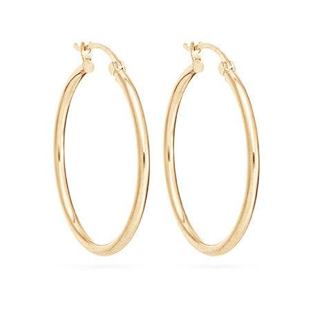 "14K Gold 1"" Hoop Earrings | Eve's Addiction®"