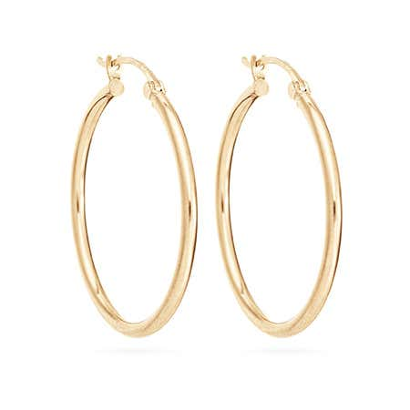 14K Gold 1 Inch Hoop Earrings
