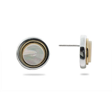 Designer Style Bezel Earrings in Mother of Pearl and Silver | Eve's Addiction®