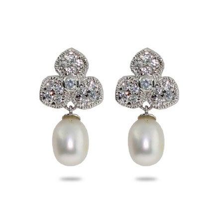 Designer Style Petals and Freshwater Pearl Drop Earrings | Eve's Addiction®