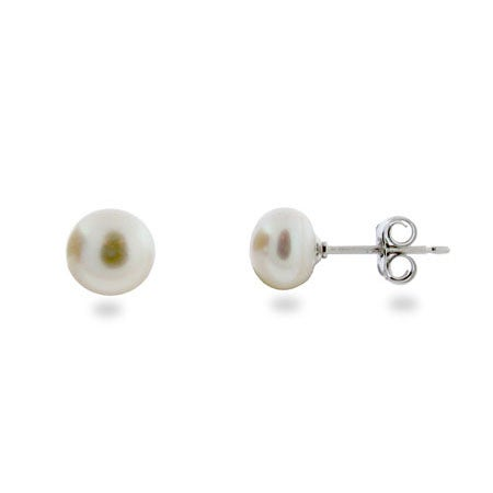 6mm White Freshwater Pearl Stud Earrings | Eve's Addiction®