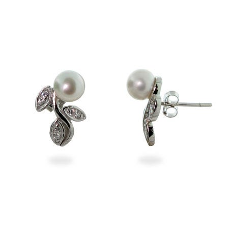 Silver Freshwater Pearl Stud Earrings on CZ Vine | Eve's Addiction®