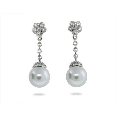 Sterling Silver Pave White Pearl Drop Earrings | Eve's Addiction®