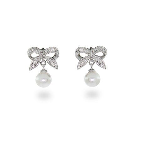 Sterling Silver Bow Earrings with Pearl Drop | Eve's Addiction®