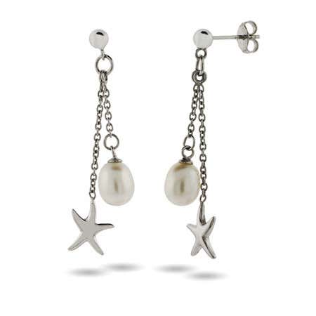 Sterling Silver Starfish Earrings with Pearl Drop   Eve's Addiction®