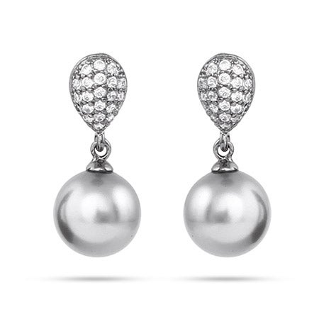 Pave CZ Gray Pearl Drop Earrings | Eve's Addiction®