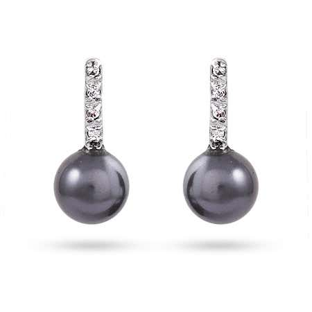 Sterling Silver Black Freshwater Pearl & CZ Earrings | Eve's Addiction