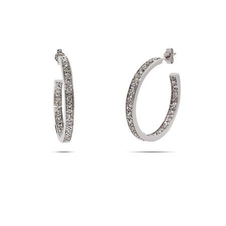 Diamond CZ Silver Hoop Earrings