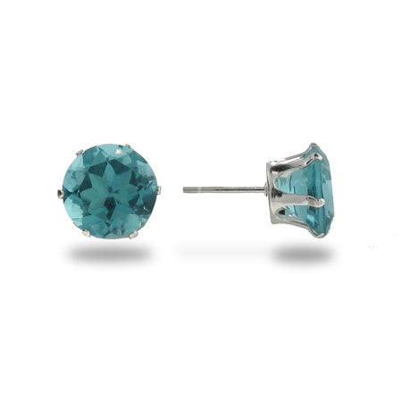 8mm Round Aquamarine Cubic Zirconia Stud Earrings in Sterling Silver | Eve's Addiction®