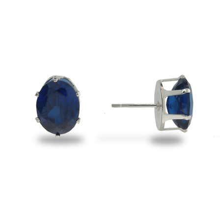 Simple Oval Cut Sapphire CZ Stud Earrings