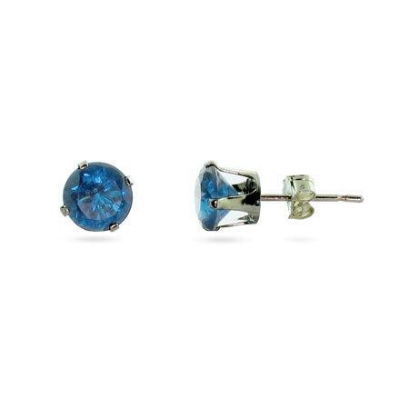 6mm Blue Topaz December CZ Stud Earrings
