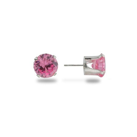 Sterling Silver 6mm Pink October CZ Stud Earrings | Eve's Addiction®