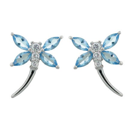 Dragonfly Earrings in Blue Topaz and Sterling Silver | Eve's Addiction®