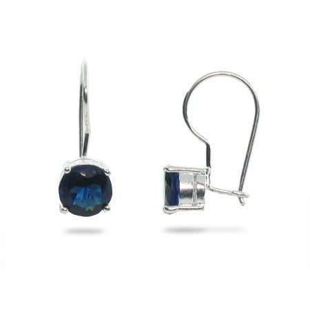 Sterling Silver Leverback Earrings with Sapphire CZ | Eve's Addiction®
