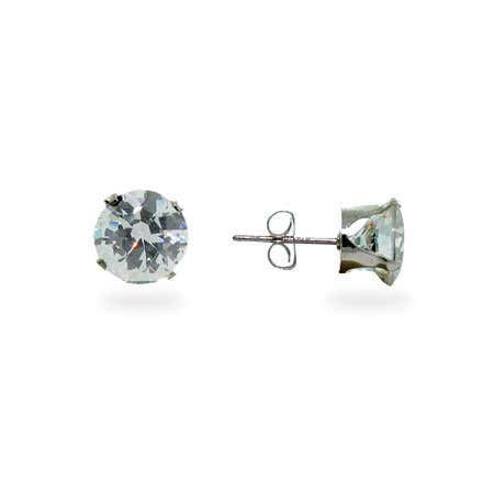 8mm Round CZ Stud Earrings   Eves Addiction