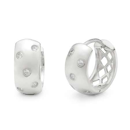 Designer Style Sterling Silver Twinkling Huggie Earrings