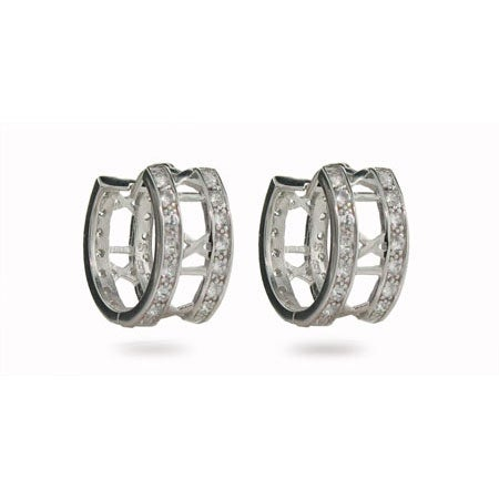 Designer Style Roman Numeral Cubic Zirconia Hoop Earrings | Eve's Addiction®