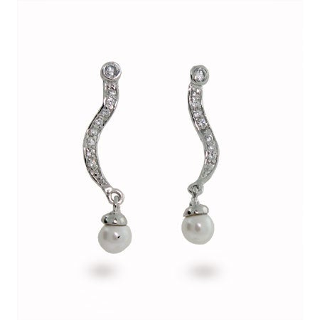 Swirl CZ Pearl Sterling Silver Earrings | Eve's Addiction®