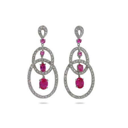 Oval Raspberry Drop CZ Sterling Silver Earrings | Eve's Addiction®
