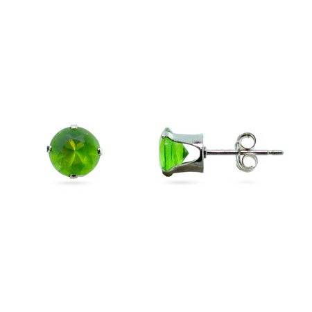 Sterling Silver 6mm Peridot August CZ Stud Earrings | Eve's Addiction®