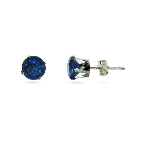 Silver 6mm Sapphire September CZ Stud Earrings