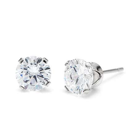 Sterling Silver Diamond 6mm Cubic Zirconia Stud Earrings | Eve's Addiction®