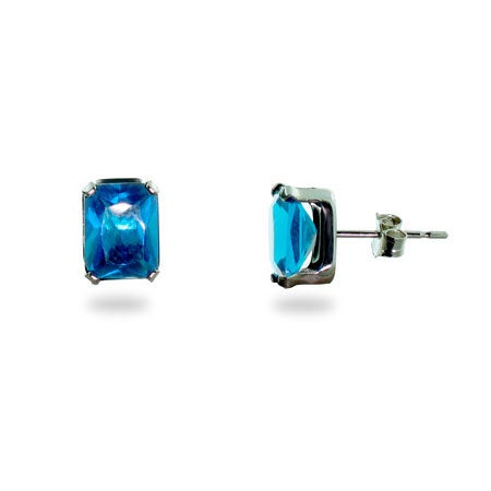 Blue Topaz CZ Stud Earrings