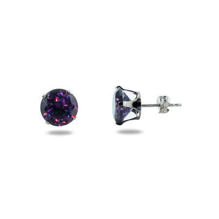 Brilliant Cut 8mm Amethyst CZ Stud Earrings