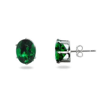 Emerald Cubic Zirconia Oval Stud Earrings