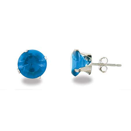 Sterling Silver 8mm Blue Zircon Stud Earrings | Eve's Addiction®