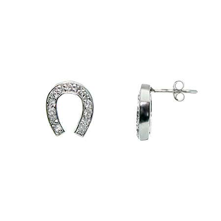 display slide 1 of 2 - Designer Style CZ Lucky Horseshoe Earrings - selected slide