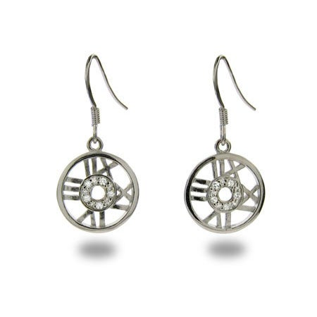 Designer Style CZ Roman Numeral Round Dangle Earrings | Eve's Addiction®