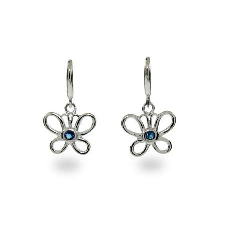 Silver and Blue Butterfly Earrings | Eve's Addiction®