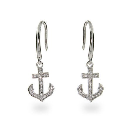 Designer Style CZ Anchor Earrings | Eve's Addiction®