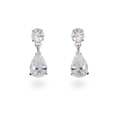 Celebrity Inspired CZ Pear Drop Silver Earrings | Eve's Addiction®