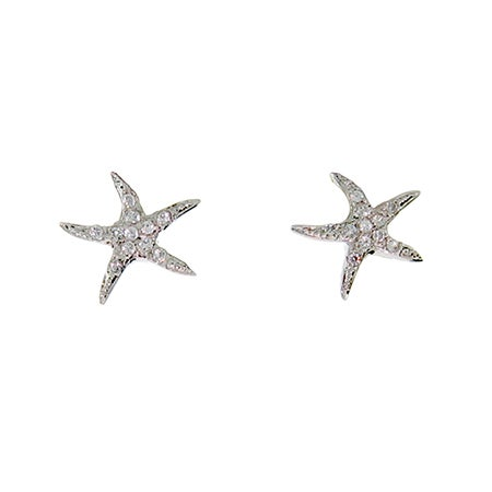 Designer Style Sterling Silver CZ Starfish Studs | Eve's Addiction®