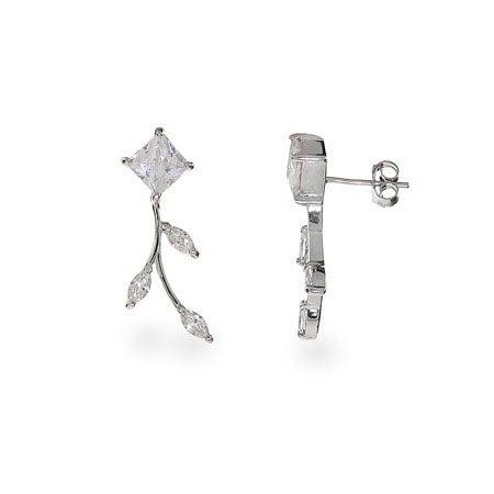 Sparkling Vine of Diamond CZ Leaf Earrings | Eve's Addiction®