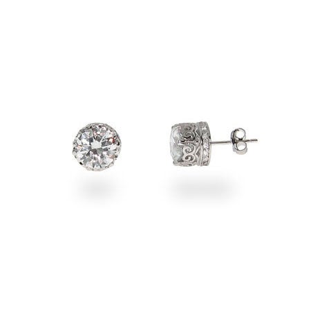 Crown Set Star Cut Signity 8mm CZ Studs | Eve's Addiction®