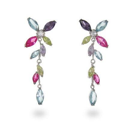 Designer Inspired CZ Pastel Pinwheel Sterling Silver Earrings | Eve's Addiction®
