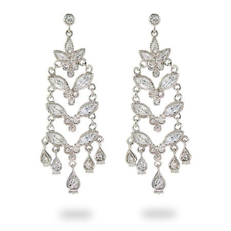CZ Flower Drop Sterling Silver Chandeliers | Eve's Addiction®