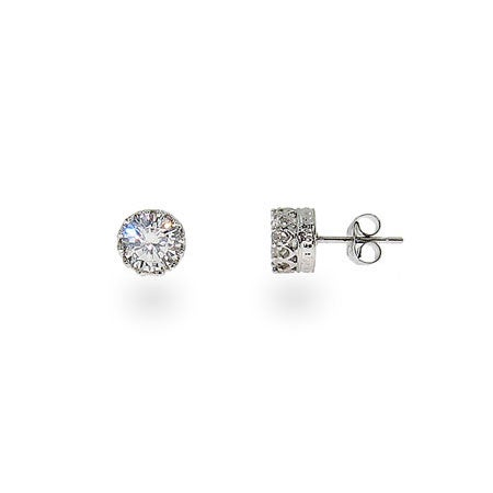 Crown Set Diamond Star Cut 6mm CZ Studs | Eve's Addiction®