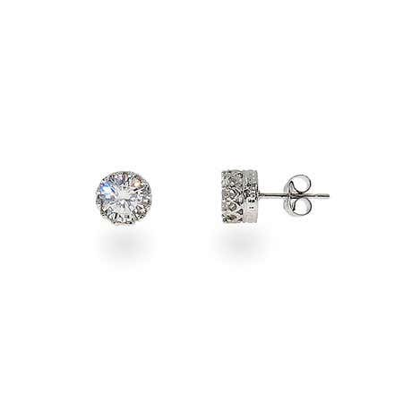 Crown Set Diamond Star Cut 6mm CZ Studs