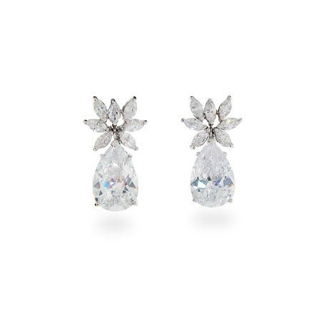 Fancy Diamond CZ Sterling Silver Pear Drop Earrings | Eve's Addiction®