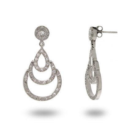 Sterling Silver Triple Teardrop Earrings with Bezel CZ | Eve's Addiction®